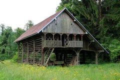 Costruzione all'aperto del vecchio granaio di legno circondata con alti erba e fiori Fotografia Stock