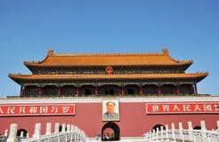 Costruzione antica cinese del cancello del TianAnMen Immagine Stock