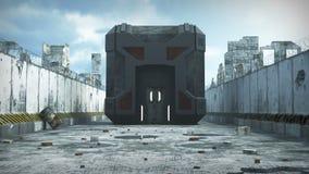 Costruzione artificiale del cubo in una città apocalittica archivi video