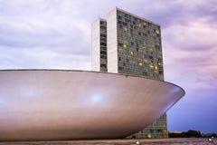 Costruzione brasiliana del congresso nazionale a Brasilia, Brasile Fotografie Stock