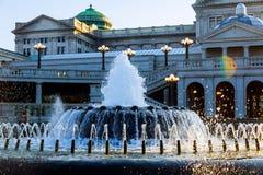 Costruzione capitala della Pensilvania a Harrisburg Lato posteriore del con la fontana nella priorità alta Fotografie Stock