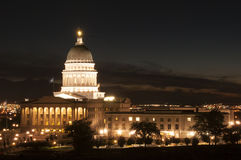 Costruzione captial dell'Utah a Salt Lake City alla notte Immagine Stock Libera da Diritti