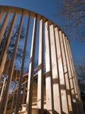 Costruzione - casa di blocco per grafici di legno Immagine Stock