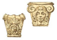 Costruzione classica antica del dettaglio elementi ornamentali architettonici mostra della colonna dorica, ionica e romana di Tos Fotografia Stock