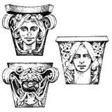 Costruzione classica antica del dettaglio elementi ornamentali architettonici mostra della colonna dorica, ionica e romana di Tos Fotografia Stock Libera da Diritti