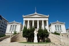 Costruzione classica della biblioteca nazionale, Atene, Grecia Immagini Stock