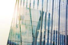 Costruzione corporativa di affari di finanza Blure moderno dei grattacieli Priorità bassa alta tecnologia Grandangolare basso Chi Immagine Stock
