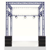 Costruzione d'acciaio della fase di evento con l'altoparlante su bianco Fotografia Stock Libera da Diritti