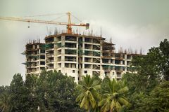 Costruzione degli edifici alti in India Immagini Stock Libere da Diritti