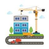 Costruzione degli edifici facendo uso di attrezzatura per l'edilizia Camion della gru e betoniera Illustrazione piana di stile Fotografie Stock Libere da Diritti