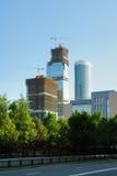 Costruzione dei grattacieli del centro internazionale di affari fotografia stock