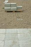 Costruzione dei percorsi delle mattonelle Fotografia Stock Libera da Diritti