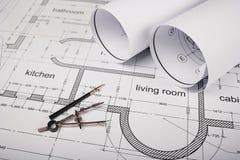 Costruzione dei piani della costruzione e degli strumenti di disegno Fotografie Stock Libere da Diritti