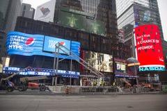 Costruzione del boulevard di Super Bowl in corso sul Times Square durante la settimana di Super Bowl XLVIII in Manhattan Fotografia Stock