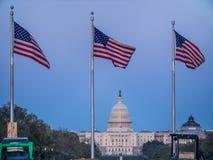 Costruzione del Campidoglio degli Stati Uniti e bandiere degli Stati Uniti in Washington DC Fotografia Stock