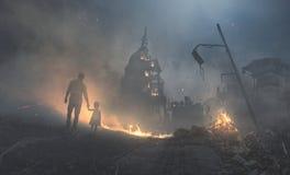 Costruzione del Campidoglio in fiamme Fotografie Stock