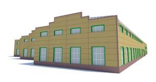 Costruzione del capannone Isolato su bianco Fotografia Stock