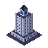 Costruzione del centro di affari di Skycraper, ufficio, per gli opuscoli di Real Estate o l'icona di web isometrico Fotografia Stock