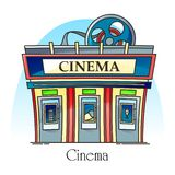 Costruzione del cinema nella linea sottile vista di esterno facade royalty illustrazione gratis