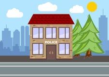 Costruzione del dipartimento di polizia Concetto del paesaggio della città Progettazione piana royalty illustrazione gratis