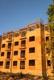 Costruzione del legno del complesso condominiale dell'inquadratura Immagine Stock