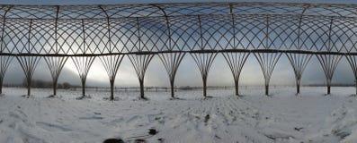Costruzione del legno - un panorama sferico di 360 gradi Immagine Stock