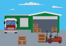 Costruzione del magazzino e processo di trasporto Immagine Stock