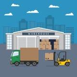 Costruzione del magazzino e processo di trasporto Fotografie Stock Libere da Diritti