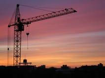 Costruzione del metallo della costruzione della gru a torre Fotografia Stock