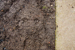Costruzione del monticello Fondo del suolo Parcheggi la struttura al suolo con le rocce pacciame e la sporcizia Struttura nera de immagini stock