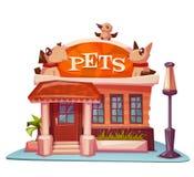Costruzione del negozio di animali con l'insegna luminosa Vettore Immagine Stock Libera da Diritti