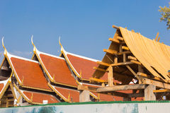 Costruzione del padiglione ad un tempio immagine stock