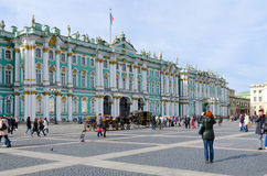 Costruzione del palazzo di inverno del Museo dell'Ermitage dello stato, quadrato del palazzo, San Pietroburgo, Russia Fotografie Stock Libere da Diritti