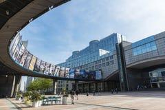 Costruzione del Parlamento Europeo a Bruxelles, Belgio Fotografia Stock Libera da Diritti