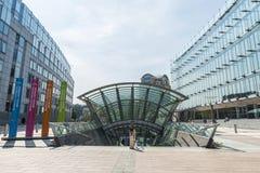 Costruzione del Parlamento Europeo a Bruxelles, Belgio Fotografie Stock