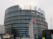 Costruzione del Parlamento Europeo a Strasburgo immagine stock libera da diritti