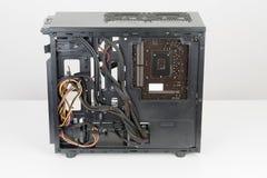 Costruzione del PC, scheda madre di ATX inserita al computer nero Midi Immagine Stock Libera da Diritti