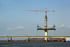 Costruzione del ponte strallato Immagini Stock