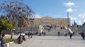 Costruzione del quadrato e del Parlamento di sintagma su Atene, Grecia fotografie stock libere da diritti