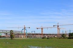 Costruzione del sistema del treno di cielo. Fotografie Stock