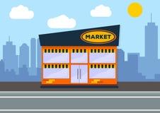 Costruzione del supermercato Concetto del paesaggio della città Progettazione piana illustrazione vettoriale