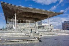 Costruzione dell'Assemblea di Lingua gallese alla baia di Cardiff, Regno Unito Fotografie Stock Libere da Diritti
