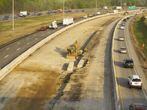 Costruzione dell'autostrada senza pedaggio Fotografie Stock Libere da Diritti
