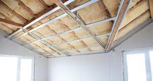 Costruzione dell'isolamento del soffitto Fotografie Stock