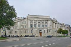 Costruzione dell'istituto idrometeorologico su Vasilyevsky Island in San Pietroburgo, Russia Fotografia Stock