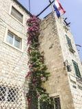 Costruzione dell'oggetto d'antiquariato della Croazia con i fiori fotografia stock