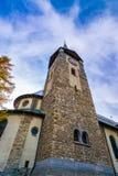Costruzione dell'orologio della torre in Austria fotografia stock libera da diritti