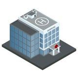 Costruzione dell'ospedale isometrica Fotografia Stock Libera da Diritti