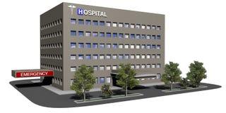 Costruzione dell'ospedale su una priorità bassa bianca