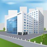 Costruzione dell'ospedale su una via della città Fotografie Stock Libere da Diritti